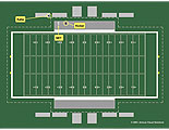 Layout of football field with positions of kicker and vicitm.