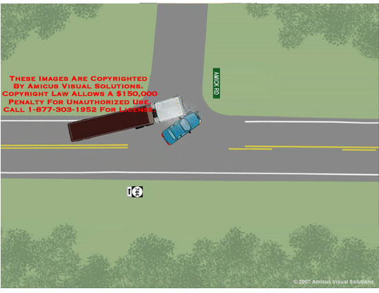 Car making a left turn is impacted by passing semi truck.