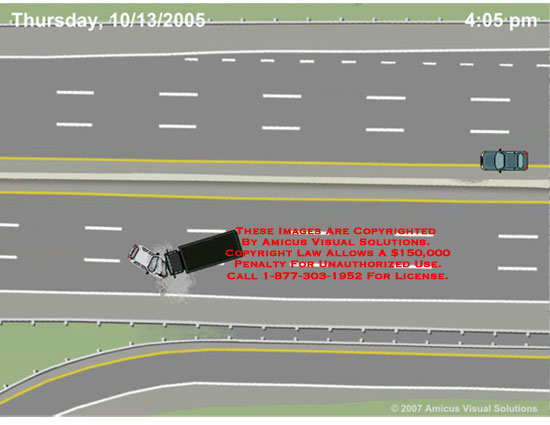 Animated depiction of mutliple car collision on I-95.