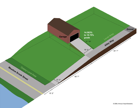 3D view of roadway leading up to house, showing inclines.
