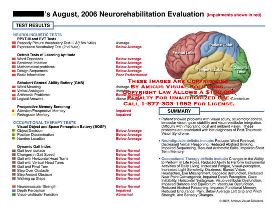 amicus,medical,chart,neuropsychological,neurorehabilitation,evaluuation,deficits,impairments