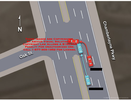 Medical diagrams and resources regarding Intersection of Chamberlayne and Oak, showing 2 car collision..