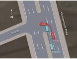 Illustration of amicus,map,accident,collision,scene,aerial,crash,cars,mva,chamberlayne,oak,roadway