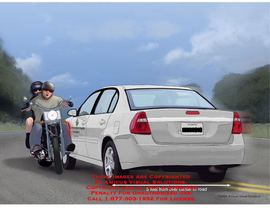 amicus,injury,mechanism,car,crossing,center,line,lane,motorcycle,impact,crash,collision