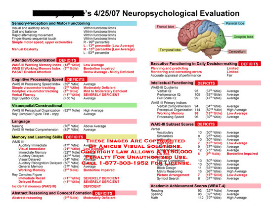 amicus,medical,injury,brain,chart,neuropsychological,evaluation,report,results,testing,deficits,impairments,coded