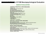 List of tests used during neuropsychological evaluation.
