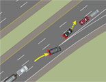 Multiple car chain reaction collision on highway (before).