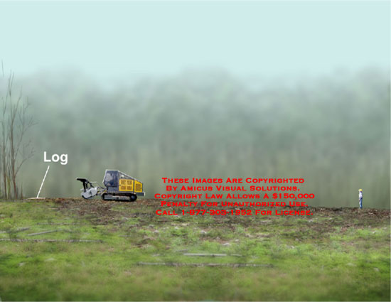 Animation of worker's distance from tractor that ejected a log toward chest.