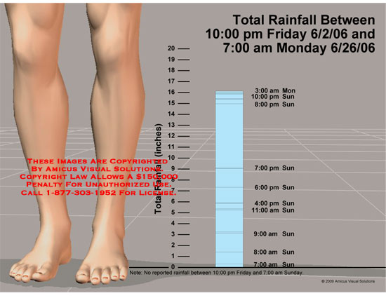 Measurement of 16 inches of rain compared to height of leg.