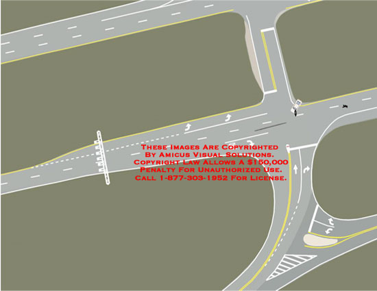 Diagram of intersection where car hit motorcyclist.