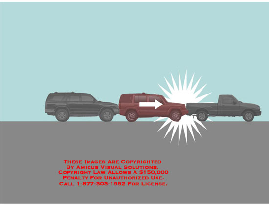 Powerpoint animation of cars colliding with cars in front of each other.